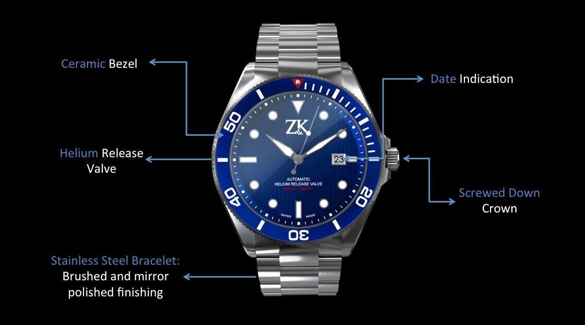 ZK No.2 The Diver Front Specs Blue